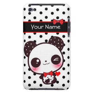 Panda personalizada de Kawaii en lunares negros Funda Case-Mate Para iPod