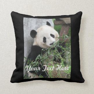 Panda Pillow, Solid Black Back Throw Pillow