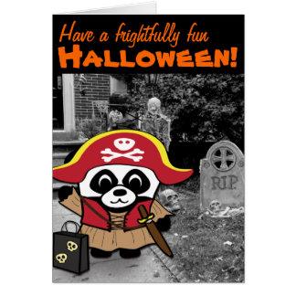 Panda Pirate Princess Trick or Treat Card