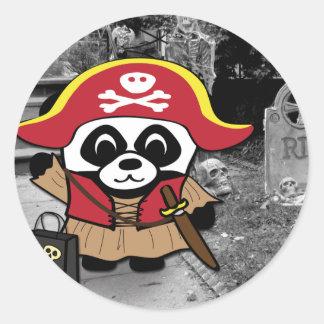Panda Pirate Princess Trick or Treat Classic Round Sticker
