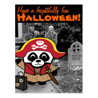 Panda Pirate Princess Trick or Treat Postcard