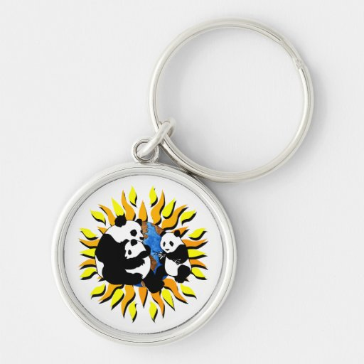 Panda Planet Silver-Colored Round Keychain