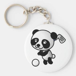 Panda playing golf basic round button keychain