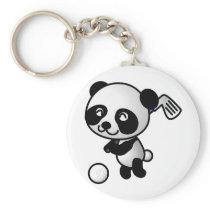Panda playing golf keychain