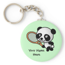 Panda Playing Tennis Customizeable Keychain