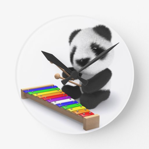 Panda Plays Music Round Wall Clock