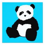 panda plush : color customizable 5.25x5.25 square paper invitation card