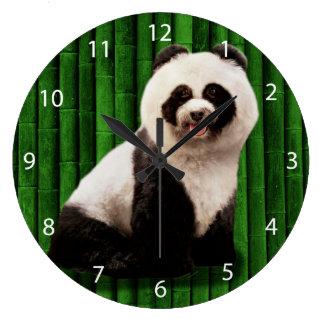 Panda poodle - bamboo panda - Pandog - cute dog Large Clock