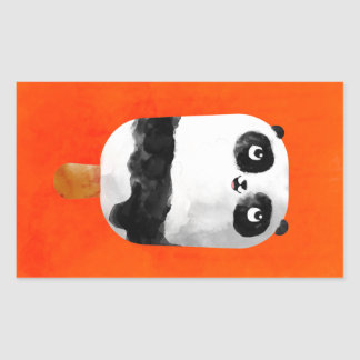 Panda Popsicle Ice Cream Rectangular Sticker