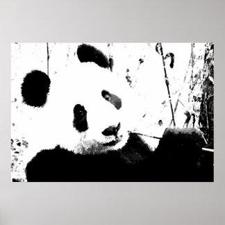 Panda Posters - Black & White Panda Face