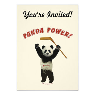 Panda Power Hockey Bear 5x7 Paper Invitation Card
