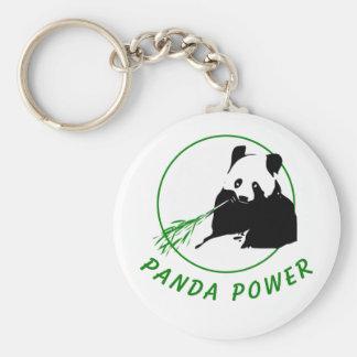 Panda Power Basic Round Button Keychain