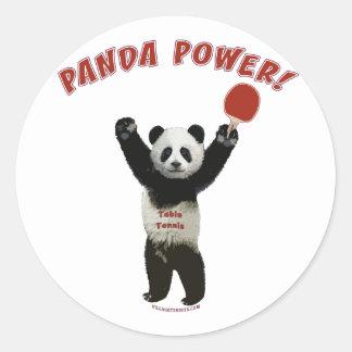 Panda Power Ping Pong Classic Round Sticker
