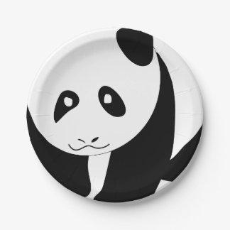 Panda preciosa platos de papel