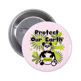 Panda Protect Our Earth T-shirts and Gifts Pinback Button