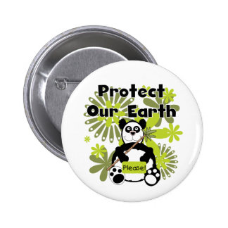 Panda Protect Our Earth T-shirts and Gifts Button