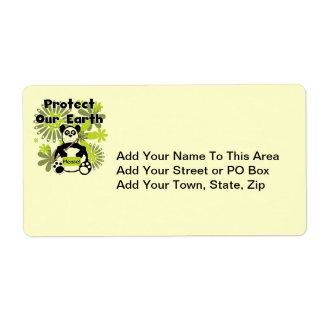 Panda Protect Our Earth T-shirts and  Gifts Label