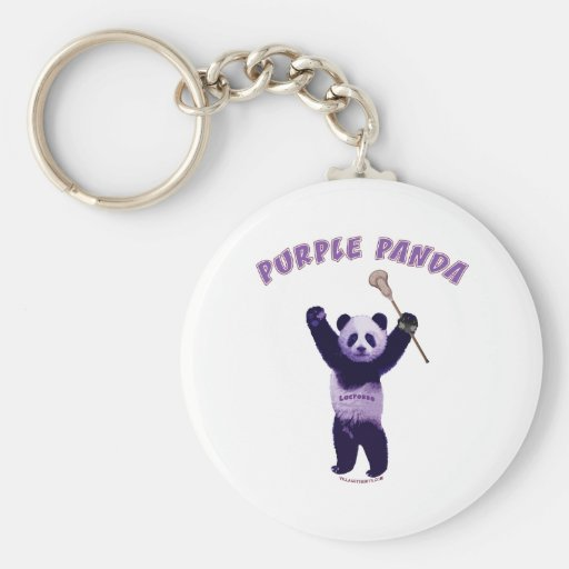 Panda púrpura LaCrosse Llavero Redondo Tipo Pin