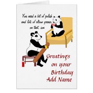 Panda que anda en monopatín, tarjeta de cumpleaños