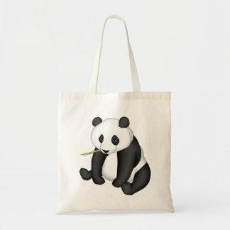 Panda que come el bambú bolsas lienzo