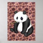 Panda que come el bambú en fondo del vintage póster