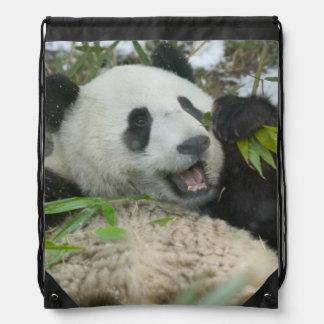 Panda que come el bambú en la nieve, Wolong, Mochilas