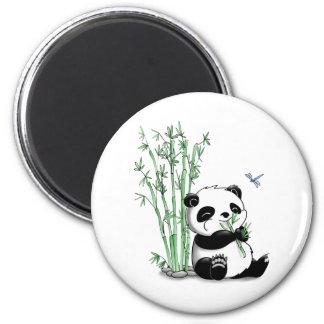 Panda que come el bambú imán redondo 5 cm
