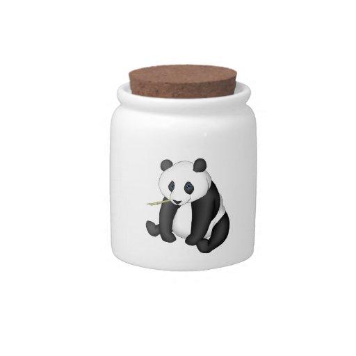 Panda que come el bambú jarra para caramelo