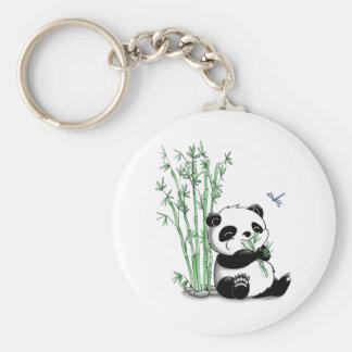 Panda que come el bambú llavero personalizado