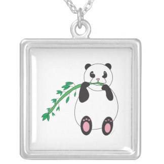 Panda que come el collar de bambú