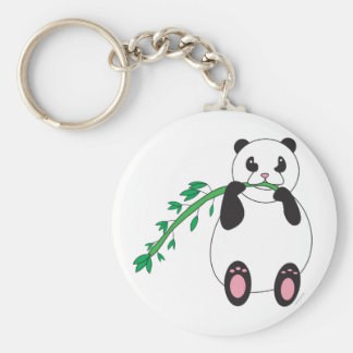 Panda que come el llavero de bambú