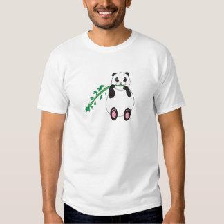 Panda que come la camiseta de bambú polera