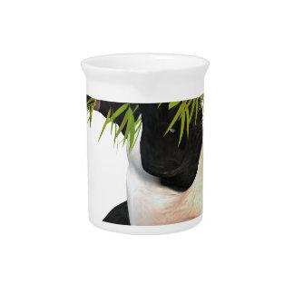 Panda que come las hojas del bambú jarron