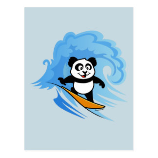 Panda que practica surf tarjeta postal