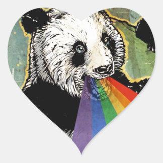 panda rainbow heart sticker