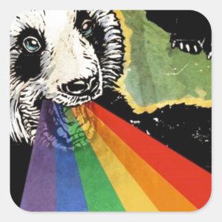 panda rainbow square sticker