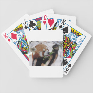panda red animal print cute bicycle playing cards