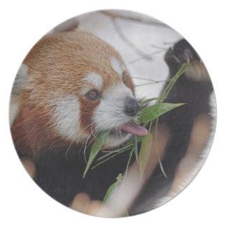 panda red animal print cute dinner plate