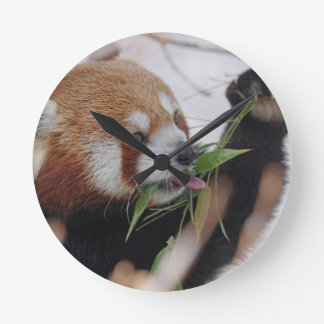 panda red animal print cute round clock