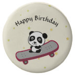 Panda riding on skateboard chocolate dipped oreo