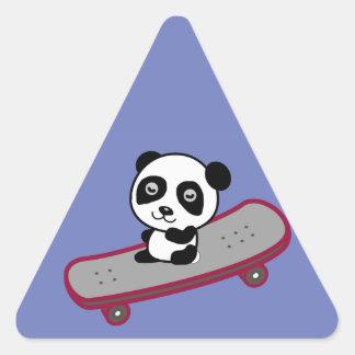 Panda riding on skateboard triangle sticker