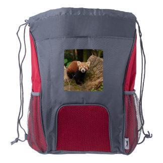 panda roja adorable mochila de cordón