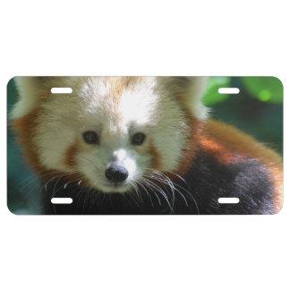 Panda roja adorable placa de matrícula