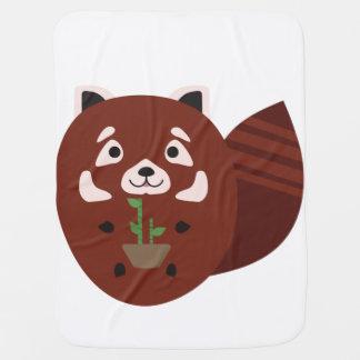 Panda roja con su planta de bambú manta de bebé