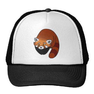 Panda roja curiosa gorro de camionero