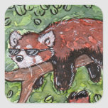 Panda roja de Chillin Pegatina Cuadradas Personalizada