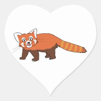 Panda roja del dibujo animado lindo que pega hacia pegatina corazon