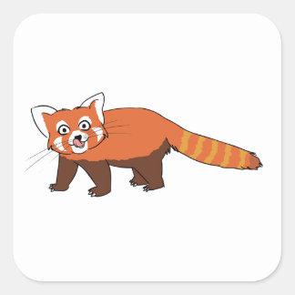 Panda roja del dibujo animado lindo que pega hacia colcomanias cuadradas personalizadas