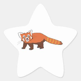 Panda roja del dibujo animado lindo que pega hacia pegatinas forma de estrella personalizadas