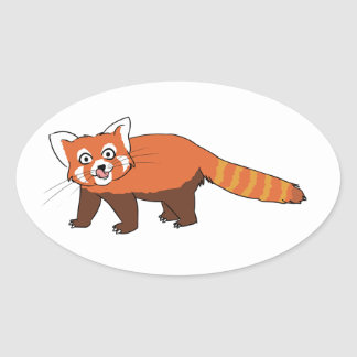 Panda roja del dibujo animado lindo que pega hacia calcomanía de oval personalizadas